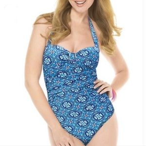 Assets by Spanx Halter Slimming Swimsuit Size Med